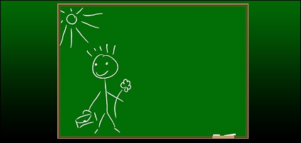 children-on-the-blackboard-graffiti-vector-material